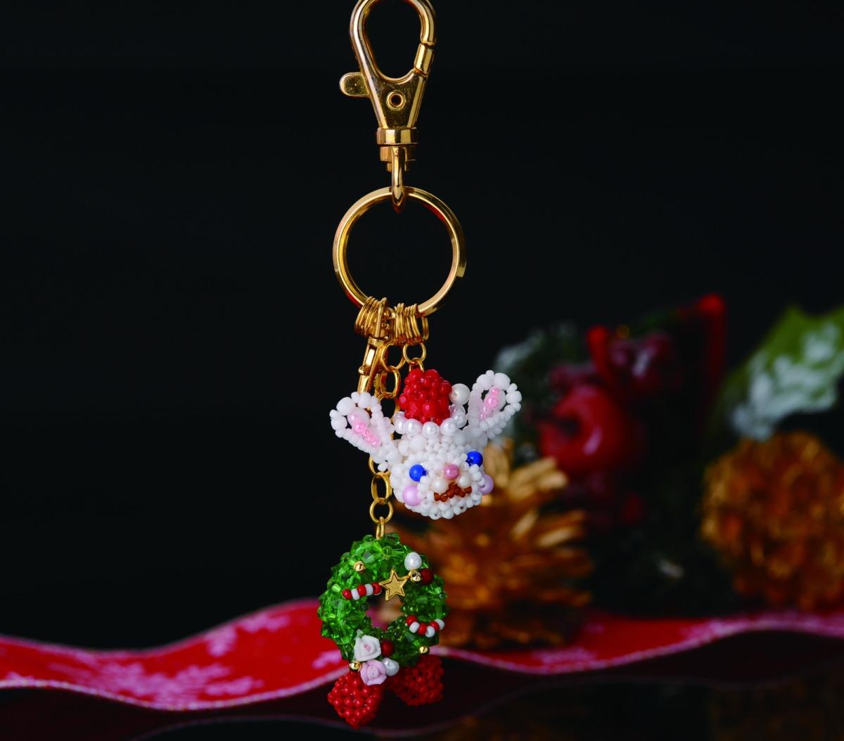 【無料レシピ】お顔のチャームホルダー~サンタうさぎのクリスマス女の子~ BM-15281