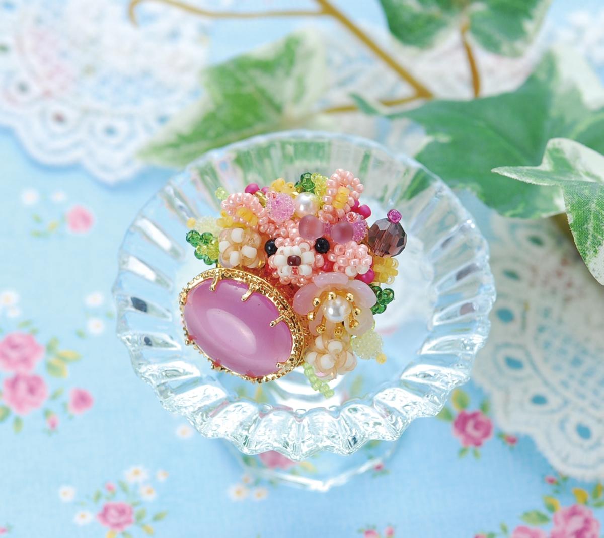 【無料レシピ】ミニうさぎのカボションブローチ~ピンクキャッツアイ~ BM-14342
